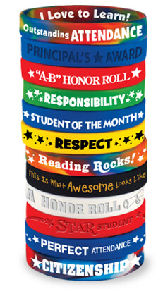 Academic awards fun bracelets for students to wear for school pride. Kids love our trendy bracelets