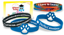 Reward students for their perfect and outstanding attendance with these budget-friendly bright bracelets.