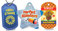 Reward your students for their perfect attendance with these specific budget-friendly award tags & dog tags.