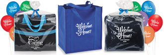 custom kits containing personal care items and amenities, perfect to welcome new residents
