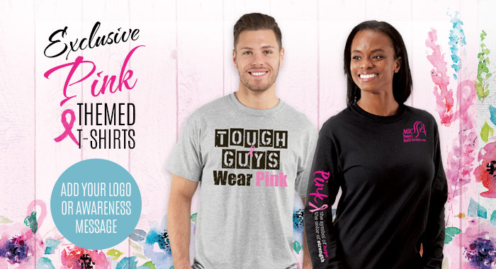 Exclusive pink themed t-shirts for Breast cancer awareness. Add your logo or awareness message