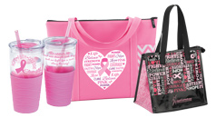 Click to see our Breast Cancer Awareness Bags, totes and coolers, as well as all unique drinkware