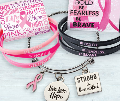Click to see our Breast Cancer Awareness Silicone Bracelets with awareness messages and reminder message card
