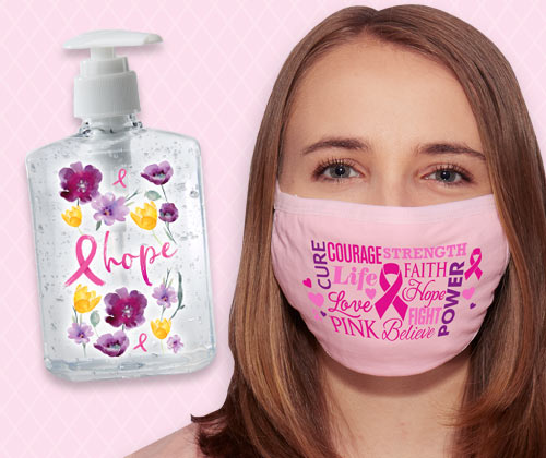 Breast Cancer Awareness face coverings and sanitizers