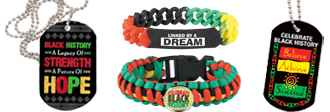 Click here to see our Black History Month bracelets & dog tags.