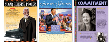 Vivid posters depict African-American leaders, events and educational institutions.