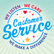 Customer Service We Listen We Care We Make A Difference Theme from Positive Promotions