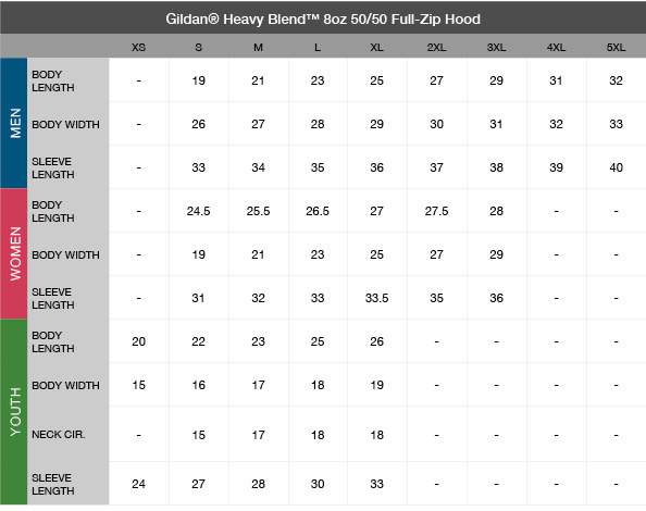 Gildan Heavy Blend 8oz. 50/50 Full-Zip Hood Size Chart
