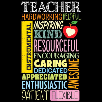 Teacher Word Cloud Theme from Positive Promotions