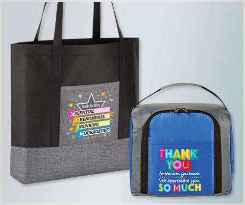 Employee Recognition and Appreciation Bags, Totes, Lunch Bags, Coolers