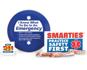 ems giveaways, including tattoos, stickers, pencils, ems helmets, bracelets and more