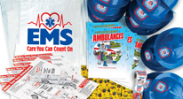 Popular ems open house kits. welcome kits to ems stations, teach about the viral role of ems and emergency care concepts.