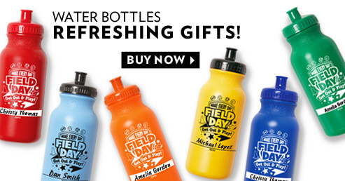 Field Day's colorful water bottles help young students keep hydrated while being active
