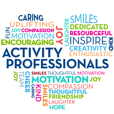 Activity Professionals Word Cloud Theme from Positive Promotions