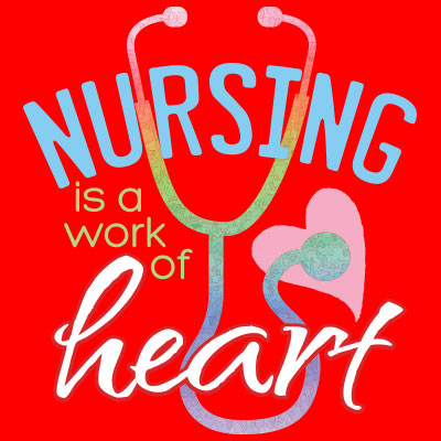 Nursing Is A Work Of Heart themed products