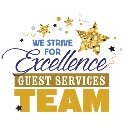 Guest Services Team We Strive For Excellence Theme from Positive Promotions
