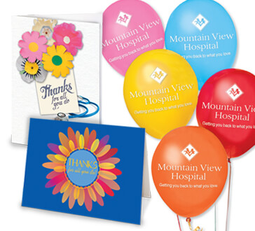 Hospital Staff recognition and appreciation greeting cards and decorations