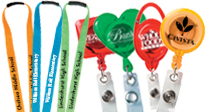 personalized lanyards, custom imprinted lanyards, imprintable lanyards. custom badge holders.