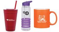 personalized drinkware, custom imprinted drinkware, imprintable drinkware, inculding water bottles, travel mugs, tumblers, koozies and more