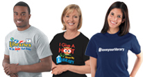 Library incentives, library t-shirts, library apparel products