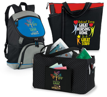 Nursing home staff appreciation bags, totes and cooler gifts. Nursing home staff recognition bags, totes and cooler products