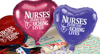 nurses appreciation decoration gifts, nurses recognition decoration gifts. nurses celebration packs, nurses foil balloons, nurses full color posters, nurses buttons.