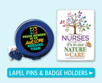 nurses appreciation lapel pin and badge holders, nurses recognition lapel pin and badge holders gifts. nurses motivational lapel pins with presentation card with a verse of praise.