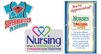 nurses appreciation lapel pin gifts, nurses recognition lapel pin gifts. nurses motivational lapel pins with presentation card with a verse of praise.
