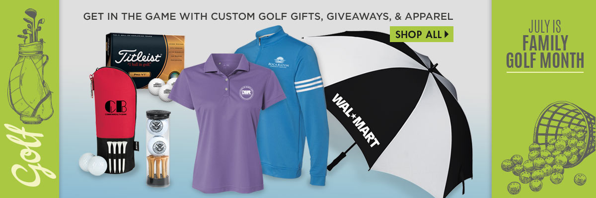 Celebrate in July Family Golf Month. Custom Golf Gifts, Giveaways and Apparel