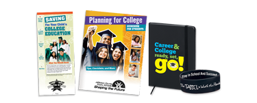 promote graduating tools, attending college educational materials, planning a career products