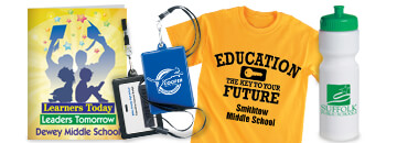 custom school spirit boosters, branded backpacks, personalized school supplies