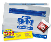 Dial 911 emergency products, 911 educational tools such as stickers, bookmarks, silicone bracelets, water bottle kits and more.