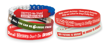 Red Ribbon week awareness bracelets displaying drug-free messages, students will be proud to wear