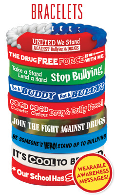 Red Ribbon and Bullying prevention bracelets help promote drug-free, respect and kindness