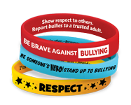 Bullying prevention awareness bracelets displaying anti-bullying messages, students will be proud to wear