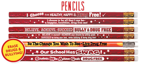 Place anti-drug and anti-bullying messages in students' hands with our pencils with powerful awareness messages