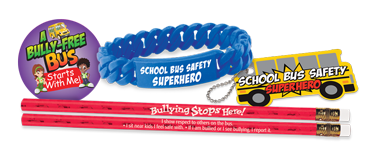 Great school safety giveaways such as pencils, stickers, tags and bracelets help raise safety awareness
