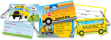 School Safety Bus ID cards and lanyards, perfect tools to keep track of students' bus information