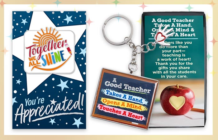 Teachers and staff lapel pins and key chain appreciation and recognition gifts