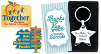 Click to See teachers & staff appreciation Lapel Pins and key ring appreciation gifts