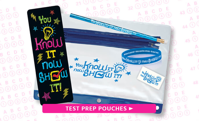Test Prep Pouches, get students ready with these awesome pouches displaying motivational themes
