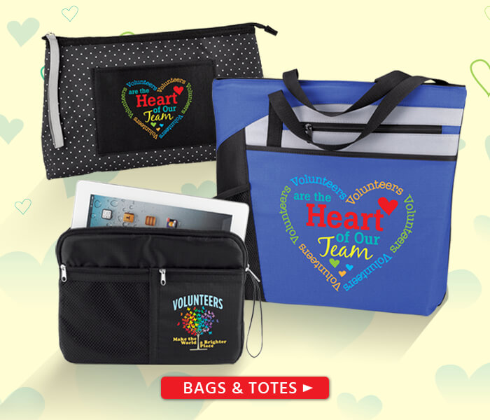 Volunteers appreciation and recognition bags and totes gifts