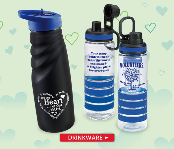 Volunteers appreciation and recognition drinkware gifts: travel mugs, tumblers, water bottles and more