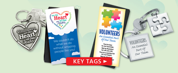 Volunteers appreciation and recognition key tags, key chains gifts