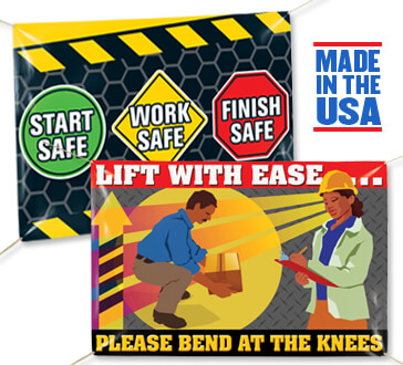 workplace safety banners, safety awareness banners, durable indoor-outdoor vinyl safety banners