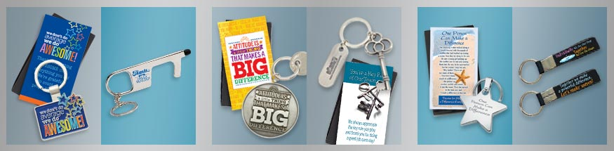 Employee appreciation key chains from Positive Promotions
