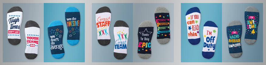 Employee appreciation socks from Positive Promotions