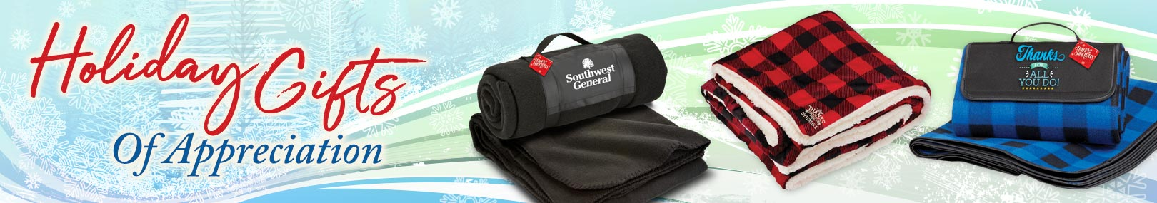Holiday blankets from Positive Promotions